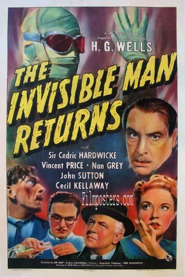 The Invisible Man Returns (1940) Pris: USD 13.500:- (omkr. SEK 94.500:-)