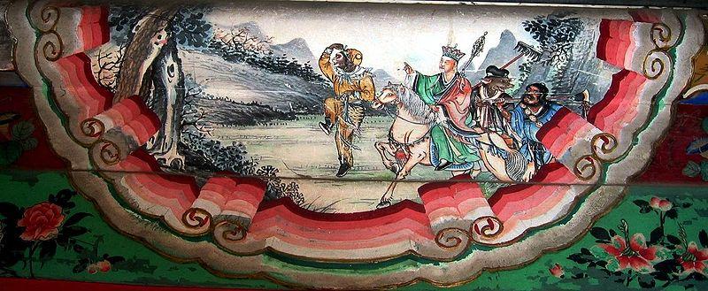 Resan till Väst - väggmålning från Sommarpalatset utanför Peking