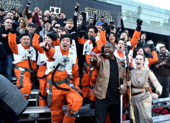 """HOLLYWOOD, CA - DECEMBER 14:  Fans attend the World Premiere of """"Star Wars: The Force Awakens"""" at the Dolby, El Capitan, and TCL Theatres on December 14, 2015 in Hollywood, California.  (Photo by Alberto E. Rodriguez/Getty Images for Disney)"""