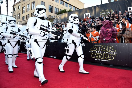 "HOLLYWOOD, CA - DECEMBER 14:  Stormtroopers attend the World Premiere of ""Star Wars: The Force Awakens"" at the Dolby, El Capitan, and TCL Theatres on December 14, 2015 in Hollywood, California.  (Photo by Alberto E. Rodriguez/Getty Images for Disney)"