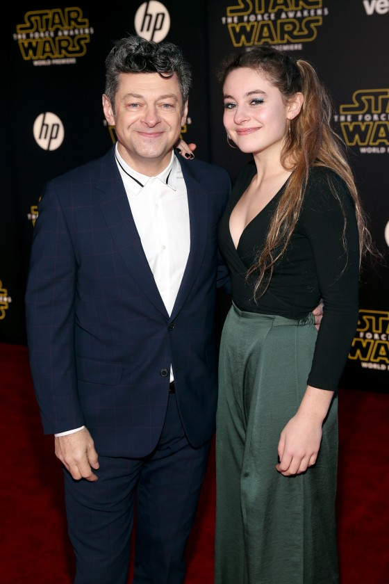 """HOLLYWOOD, CA - DECEMBER 14:  Actor Andy Serkis (L) and Ruby Serkis attend the World Premiere of """"Star Wars: The Force Awakens"""" at the Dolby, El Capitan, and TCL Theatres on December 14, 2015 in Hollywood, California.  (Photo by Jesse Grant/Getty Images for Disney) *** Local Caption *** Andy Serkis;Ruby Serkis"""
