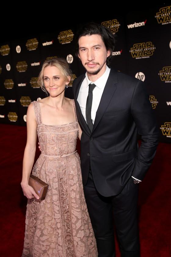"""HOLLYWOOD, CA - DECEMBER 14:  Actors Joanne Tucker (L) and Adam Driver attend the World Premiere of """"Star Wars: The Force Awakens"""" at the Dolby, El Capitan, and TCL Theatres on December 14, 2015 in Hollywood, California.  (Photo by Jesse Grant/Getty Images for Disney) *** Local Caption *** Adam Driver;Joanne Tucker"""