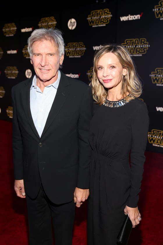 "HOLLYWOOD, CA - DECEMBER 14:  Actors Harrison Ford (L) and Calista Flockhart attend the World Premiere of ""Star Wars: The Force Awakens"" at the Dolby, El Capitan, and TCL Theatres on December 14, 2015 in Hollywood, California.  (Photo by Jesse Grant/Getty Images for Disney) *** Local Caption *** Harrison Ford;Calista Flockhart"
