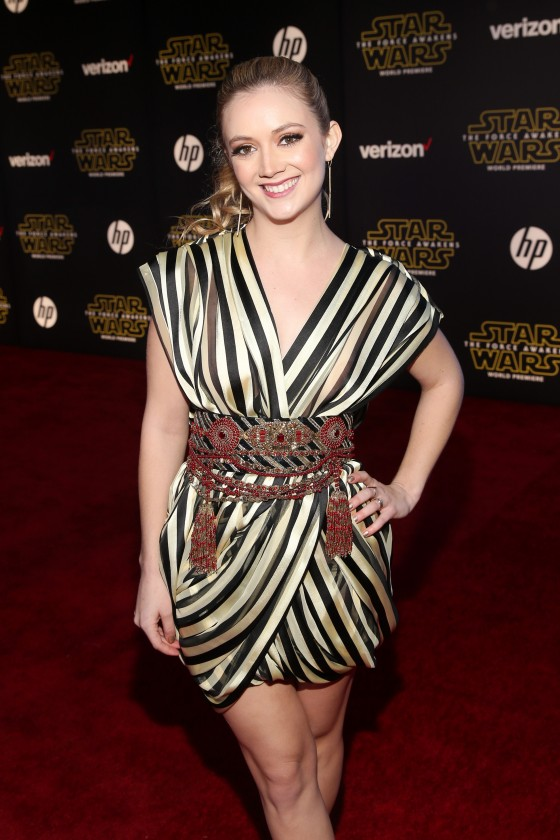 "HOLLYWOOD, CA - DECEMBER 14:  Actress Billie Lourd attends the World Premiere of ""Star Wars: The Force Awakens"" at the Dolby, El Capitan, and TCL Theatres on December 14, 2015 in Hollywood, California.  (Photo by Jesse Grant/Getty Images for Disney) *** Local Caption *** Billie Lourd"