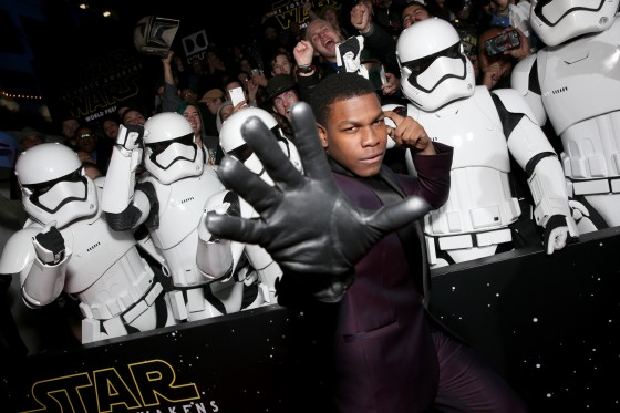 "HOLLYWOOD, CA - DECEMBER 14:  Actor John Boyega attends the World Premiere of ""Star Wars: The Force Awakens"" at the Dolby, El Capitan, and TCL Theatres on December 14, 2015 in Hollywood, California.  (Photo by Kevin Winter/Getty Images for Disney) *** Local Caption *** John Boyega"