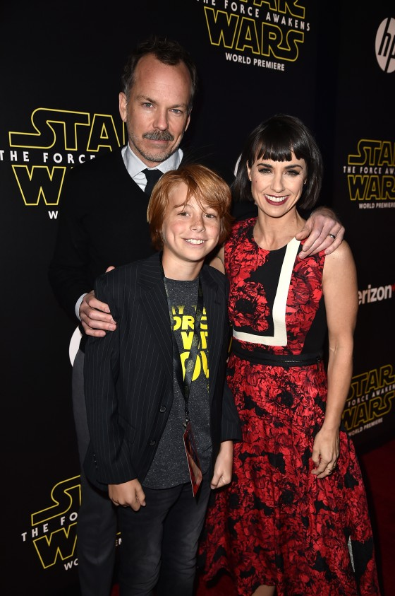 """HOLLYWOOD, CA - DECEMBER 14:  Director Russ Lamoureux, actress Constance Zimmer and guest attend the World Premiere of """"Star Wars: The Force Awakens"""" at the Dolby, El Capitan, and TCL Theatres on December 14, 2015 in Hollywood, California.  (Photo by Kevin Winter/Getty Images for Disney) *** Local Caption *** Constance Zimmer;Russ Lamoureux"""