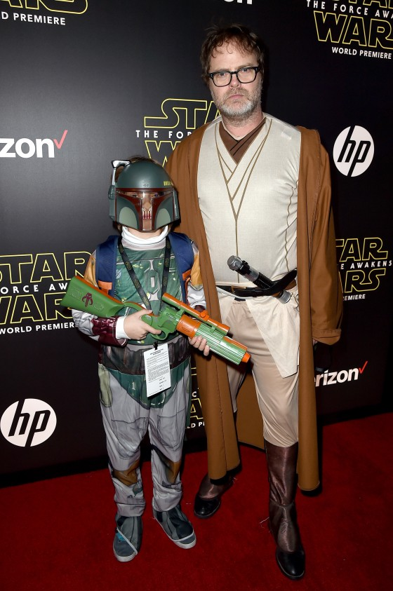 """HOLLYWOOD, CA - DECEMBER 14:  Walter Wilson (L) and actor Rainn Wilson attend the World Premiere of """"Star Wars: The Force Awakens"""" at the Dolby, El Capitan, and TCL Theatres on December 14, 2015 in Hollywood, California.  (Photo by Kevin Winter/Getty Images for Disney) *** Local Caption *** Rainn Wilson;Walter Wilson"""