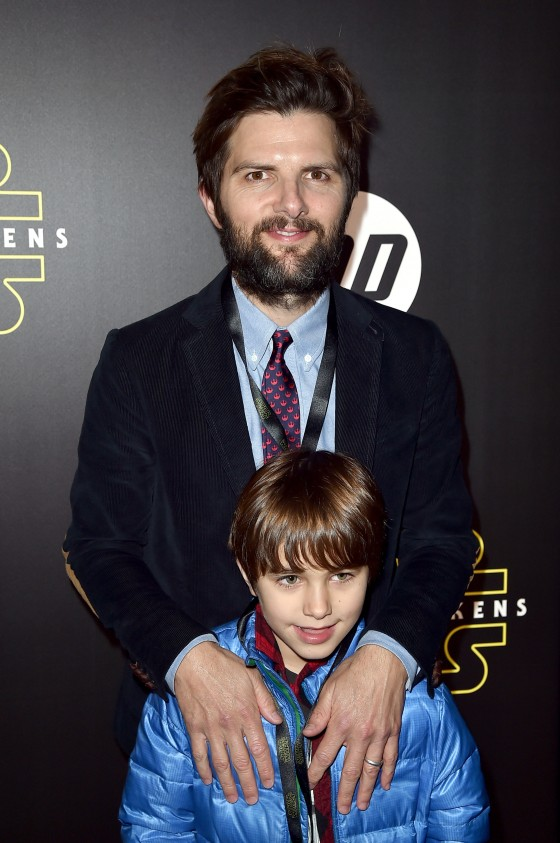 "HOLLYWOOD, CA - DECEMBER 14:  Actor Adam Scott and Graham Scott attend the World Premiere of ""Star Wars: The Force Awakens"" at the Dolby, El Capitan, and TCL Theatres on December 14, 2015 in Hollywood, California.  (Photo by Kevin Winter/Getty Images for Disney) *** Local Caption *** Adam Scott;Graham Scott"