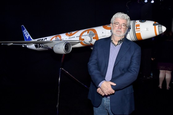 """HOLLYWOOD, CA - DECEMBER 14:  Director George Lucas attends the World Premiere of """"Star Wars: The Force Awakens"""" at the Dolby, El Capitan, and TCL Theatres on December 14, 2015 in Hollywood, California.  (Photo by Mike Windle/Getty Images for Disney) *** Local Caption *** George Lucas"""