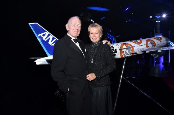 """HOLLYWOOD, CA - DECEMBER 14:  Actor Max von Sydow (L) and producer Catherine Brelet attend the World Premiere of """"Star Wars: The Force Awakens"""" at the Dolby, El Capitan, and TCL Theatres on December 14, 2015 in Hollywood, California.  (Photo by Mike Windle/Getty Images for Disney) *** Local Caption *** Max von Sydow;Catherine Brelet"""