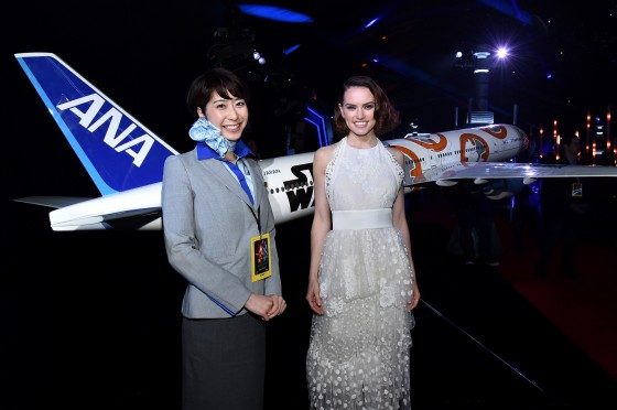 "HOLLYWOOD, CA - DECEMBER 14: Actress Daisy Ridley (R) attends the World Premiere of ""Star Wars: The Force Awakens"" at the Dolby, El Capitan, and TCL Theatres on December 14, 2015 in Hollywood, California.  (Photo by Mike Windle/Getty Images for Disney) *** Local Caption *** Daisy Ridley"