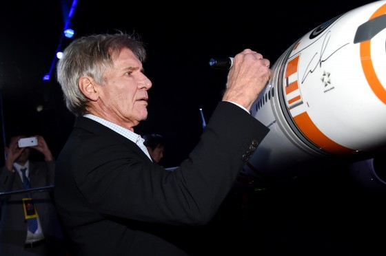 """HOLLYWOOD, CA - DECEMBER 14:  Actor Harrison Ford attends the World Premiere of """"Star Wars: The Force Awakens"""" at the Dolby, El Capitan, and TCL Theatres on December 14, 2015 in Hollywood, California.  (Photo by Mike Windle/Getty Images for Disney) *** Local Caption *** Harrison Ford"""