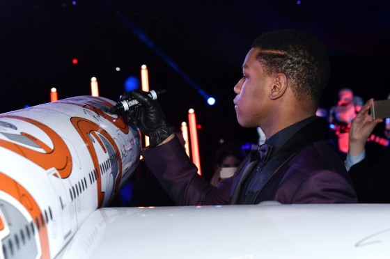 "HOLLYWOOD, CA - DECEMBER 14:  Actor John Boyega attends the World Premiere of ""Star Wars: The Force Awakens"" at the Dolby, El Capitan, and TCL Theatres on December 14, 2015 in Hollywood, California.  (Photo by Mike Windle/Getty Images for Disney) *** Local Caption *** John Boyega"