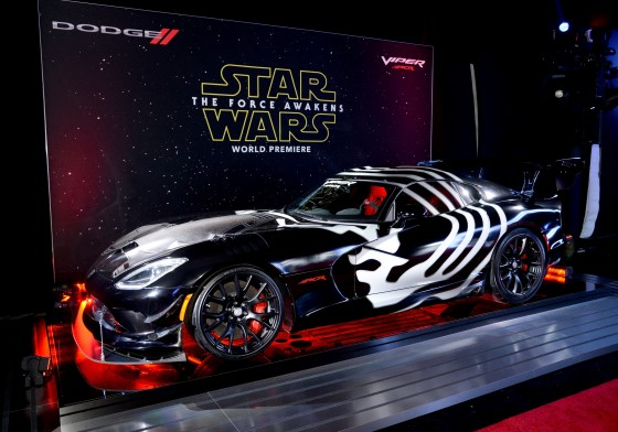 LOS ANGELES, CA - DECEMBER 14:  A Dodge Viper ACR vehicle is displayed at the premiere of Walt Disney Pictures and Lucasfilm's